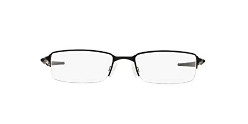 Oakley Men's OX3119 Halfshock Metal Rectangular Prescription Eyeglass Frames, Satin Black/Demo Lens, 55 mm