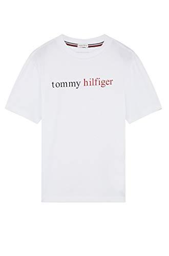 Tommy Hilfiger SS tee Logo Top de Pijama, Blanco, 8-9 años (Talla del Fabricante:) para Niños