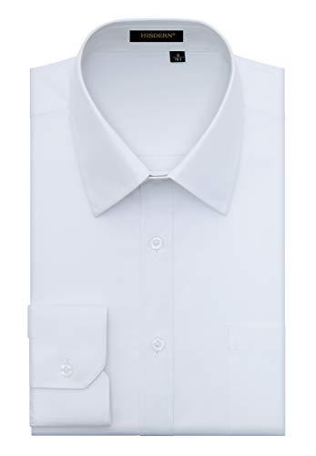 HISDERN Camisa de Vestir Formal para Hombre Camisa de Manga Larga de Algodon Blanca con Botones Regulares para Hombres