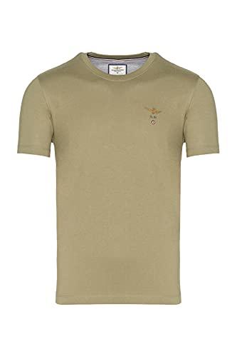 Aeronautica Militare - Camiseta cuello redondo de jersey de algodón, básica y...