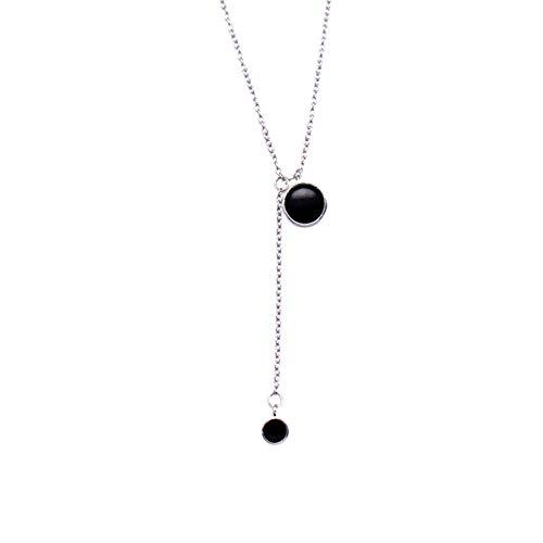 HFJ&YIE&H Argent Sterling 925 Cristal Noir Pendentif Collier Foulard Collier pour Femme Cadeau de Saint Valentin, Chaîne de 16,5 + 1,2 Pouces