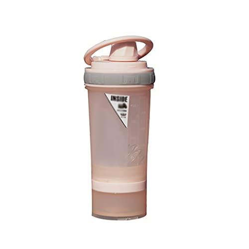 LMG Botella de agua jarra de 15 onzas de gran capacidad botella de agua fitness deportes taza de agua con escala incorporada en caja de polvo, caja cápsula (color: rosa)