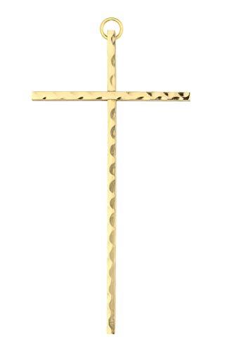 Motivationsgeschenke Wandkreuz Messing, gehämmert Kreuz 35 x16 cm Handarbeit Metall Kruzifix