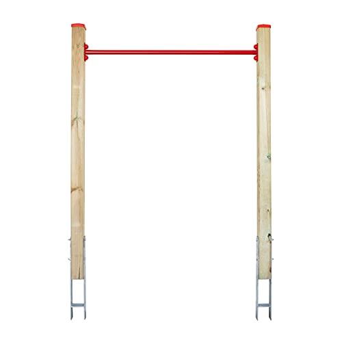 ELYFLAIR® - Reckstange Garten - Rot - Höhenverstellbares Reck aus druckimprägniertem Holz - Gartenspielgerät mit einem sicheren Halt in der Erde - Turnreck Kinder (Rot)