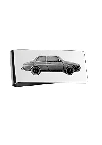 Soporte de clip para dinero con diseño de coche sueco 99 Turbo ref219 en color plateado