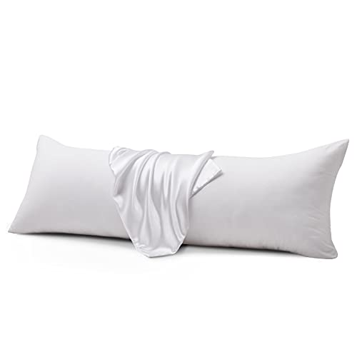 IGI Body Pillows with Satin Pillowcases-Ultra Soft Full Body Pillow for Adults-Long Sleeping Breathable Envelope Closure Bed Pillow,20'x54'-White