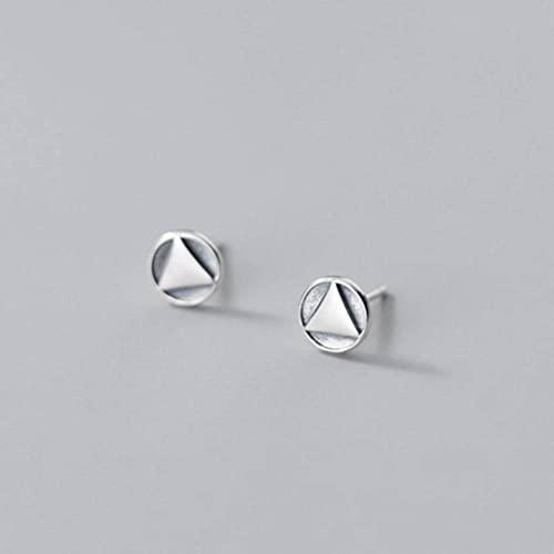 LOt Pendientes de Plata Tailandeses de Plata S925 Pendientes Redondos Triangulares Personalizados de Estilo Retro Pendientes Geométricos Simplespendientes