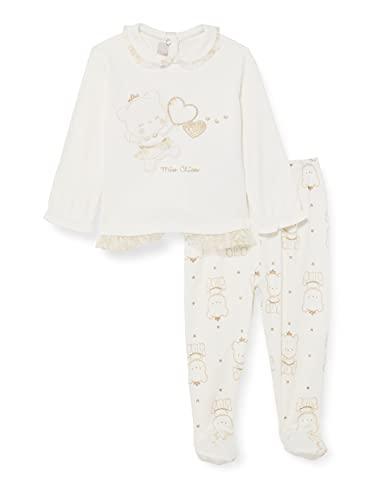 Chicco Completino Maglietta e Pantaloni in Cotone Interlock Juego de Pijama, Color Blanco, 62 cm...