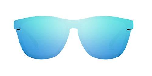 HAWKERS · Gafas de Sol ONE Venm Hybrid Clear One, para Hombre y Mujer, con montura negra acabado brillo y lente de máscara azul cielo con efecto espejo, Protección UV400