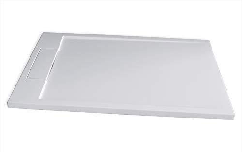 Bernstein Badshop Duschtasse Flach Mineralguss-Duschwanne PB3085 - Weiß matt - 120x90x3,5cm