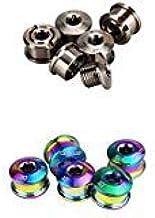 GUB 5PCS/LOT Titanium Single Chainwheel Bolts Titanium Ti Crankset Chainring Nuts Screws Bicycle Accessories M86mm Rainbow