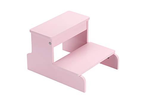 BIRDROCK HOME Wooden Step Stool for Kids - Pink – Decorative - Strong Sturdy Wood 2 Steps - Toddler Kids Step Helper for Kitchen Sink – Bathroom Toilet Stepping – Lightweight Construction