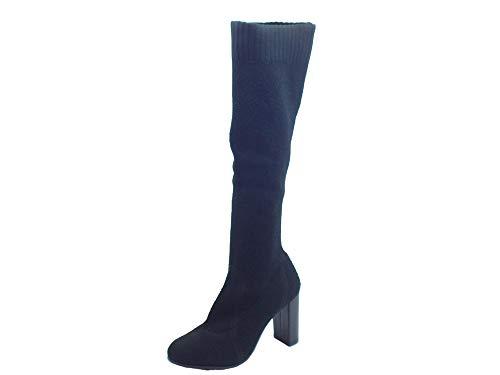 CafèNoir Stivali per Donna in Tessuto Elasticizzato spugnoso Nero Tacco Alto (Taglia 38)