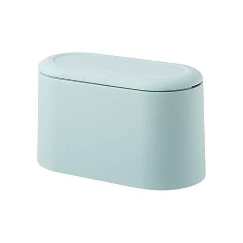Saicowordist Papelera portátil con tapa, mini papelera para encimera, tapa de prensa de cartucho, para el hogar, sala de estar, cocina, dormitorio (A)