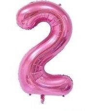 SiDeSo® 1 Folienballon XXL ROSA Heliumgeeignet Party Geburtstag Jahrestag Hochzeitstag Jubiläum Zahlenluftballon Luftballon Zahl (Zahl 2)