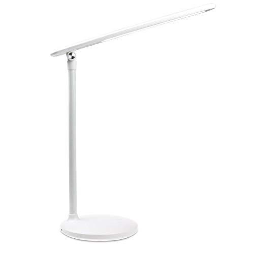 Lámpara De Escritorio Pequeña con Protección Ocular LED De Toque Simple, Escritorio De Aprendizaje, Dormitorio De Estudiantes, Carga USB, Enchufe Junto A La Cama (Color : White)