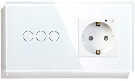 BSEED WiFi Smart Alexa Rolladen Zeitschaltuhr Schalter mit Steckdose, Kompatibel mit Google Home Tuya, Glas Touchscreen-schalter Wlan Jalousien Schalter (Neutrale Leitung Benötigt) Weiß