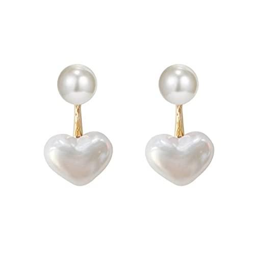 Orecchini Pendenti con Cuore di Perle Orecchini Pendenti con Perle d'imitazione a Forma di Cuore Orecchini Pendenti con Perline a Cerchio per Ragazze da Donna