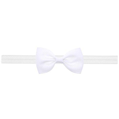 Longra mini-haarband voor baby en meisjes, met strik, elastische haarband voor baby en meisjes, accessoires, elastisch, met bloemendecoratie Wit.