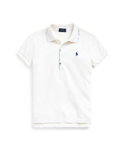 Ralph Lauren Girls Embroidered Flag Polo Shirt Top (Medium 8-10) White