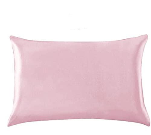DDSP Funda de Almohada Pure Emulation Silver Satin Funda de Almohada única Funda de Almohada Multicolor (Color : Pink, Size : US Queen(20x30 Inch))
