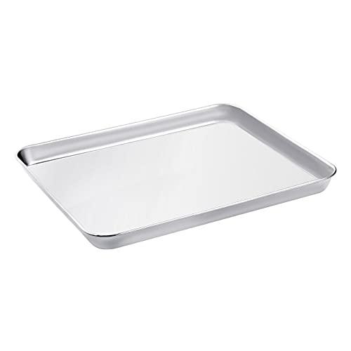 WEZVIX Backblech, Edelstahl Rechteckige Backform Ofenblech zum Backen 31.5 x 25 x 2.5 cm Kuchenblech, ungiftig und gesund, rostfrei und weniger klebrig, leicht zu reinigen und spülmaschinenfest