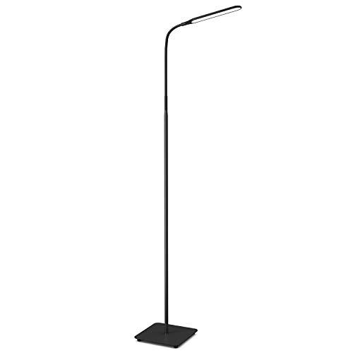 TaoTronics LED Floor Lamp, Modern Standing Light 4 Brightness Levels & 4 Colors Dimmable Adjustable Gooseneck Task Lighting for Bedroom Reading Piano Room Black