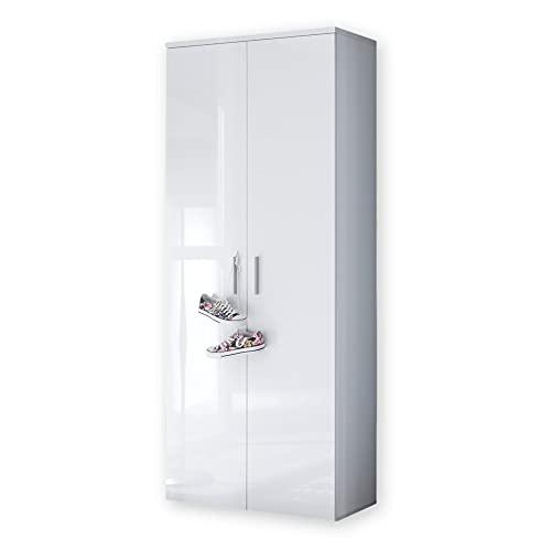 Stella Trading LINCOLN Schuhschrank hoch, Weiß Hochglanz - Vielseitiger Mehrzweckschrank mit 11 verstellbaren Einlegeböden - 80 x 190 x 35 cm (B/H/T)