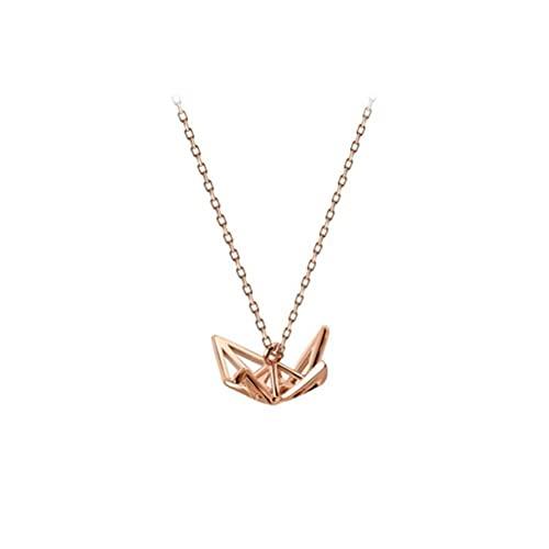 BEWITCHYU Collar de Plata con Elemento de Grúa de Origami S925, Cadena de Clavícula Hueca para Damas Japonesasoro y rosa, Plata 925