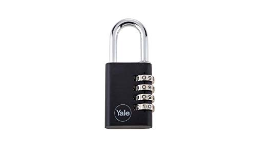 Yale YE3C/38/131/1/BK Aluminium Combination Padlock, 38mm, pack of 1, suitable for gym locker and suitcases
