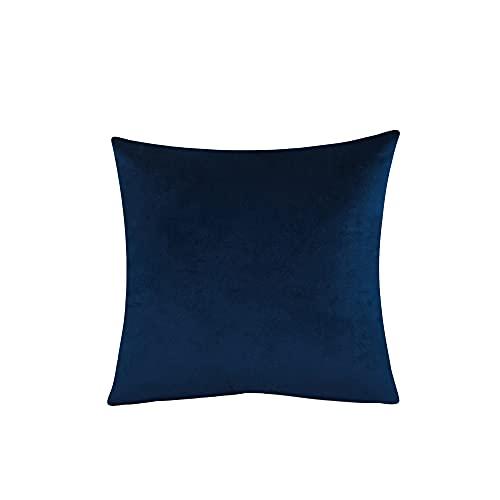 Blankspace Funda de cojín de terciopelo de color sólido, funda de almohada para sofá, coche, hogar, decoración (color: azul oscuro, tamaño: 40 x 40 cm)