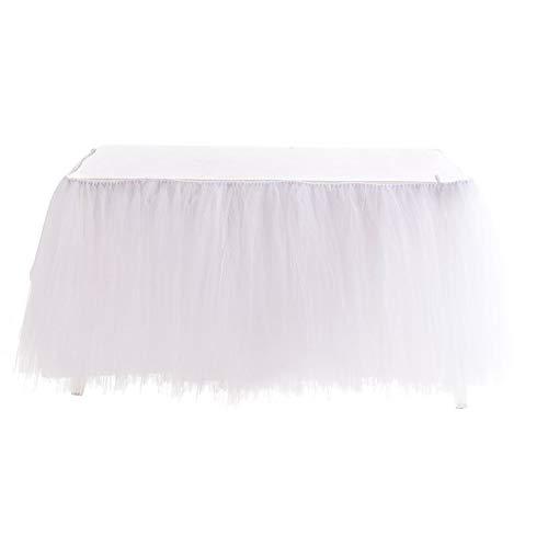 Kurphy - Falda de tul para mesa rectangular o redonda de tul para fiestas, bodas, fiestas de cumpleaños y decoración del hogar