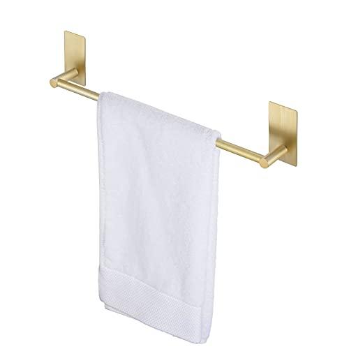 KES Handtuchstange ohne Bohren Bad Handtuchhalter Selbstklebend Halterung Handtuch Edelstahl SUS 304 Klebe Geschirrtuchhalter Dusche Gold 40 cm Messing Gebürstet, A700040-BZ
