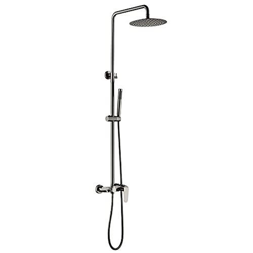 Sistema de ducha tipo lluvia Juego de grifos de ducha gris Juego combinado de ducha montada en la pared Monomando de latón Mezclador de lluvia con ducha de mano, cabezal de ducha tipo lluvia de 8 pul
