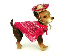 """Popular NY Times Featured """"Raspberry Striped Dog Poncho"""" with Fringe (Small)"""