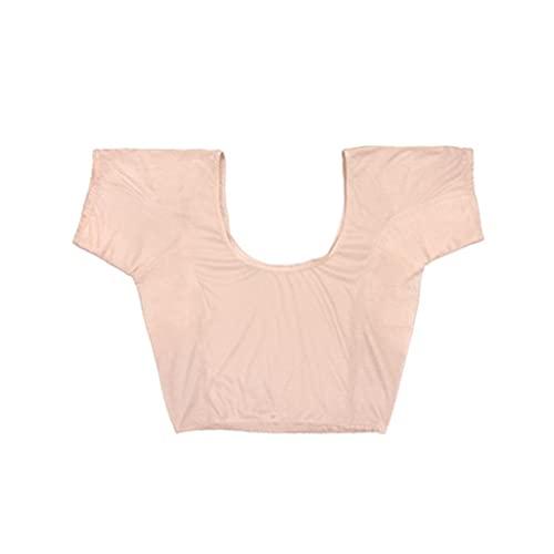 Chaleco de Ropa Interior Ultrafino con Protección contra El Sudor para Mujer Almohadilla Desodorante Lucha contra La Hiperhidrosis Mangas Cortas hasta La Mitad (Color : Skin, Size : XL)