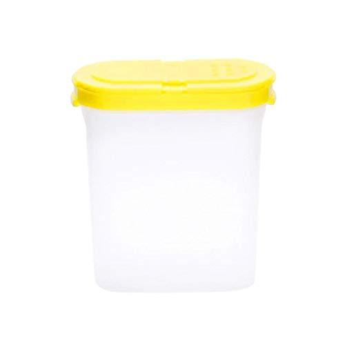 Odoukey Condimento contenedor Caja de Especias Can condimento de Almacenamiento de plástico Transparente Suministros de Cocina con Doble Cubierta 250 ml Amarillo
