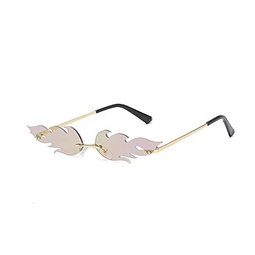 WEARRR Lujo Tendencia Fuego Llama Senderismo Gafas de Sol Moda Mujeres Hombres Onda Rimless Gafas de Sol UV 400 Tamas Gafas de Sol estrechas (Color : Purple)