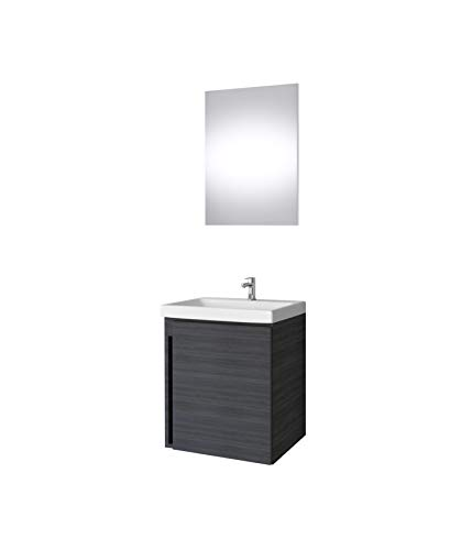 Waschtisch + Spiegel Badmöbel Set 50cm für Badezimmer WC (Anthrazit)