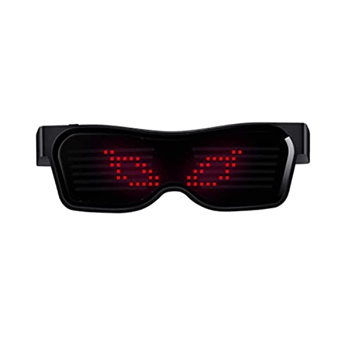 Lamerpic Gafas de fiesta brillantes, gafas de sol para hombres y mujeres, control de aplicaciones móviles (rojo)
