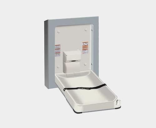 American Specialties Mesa cambiador plegable vertical de plástico resistente a las bacterias.
