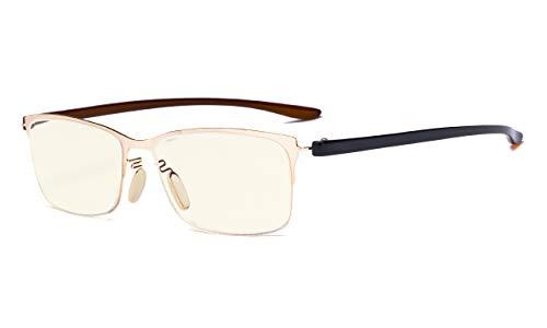 Eyekepper computerbril - blauw lichtfilter leesbril - UV420 veiligheidsbril met halfronde leesbril dames Ohne Stärke Gold Rahmen -Bb40 Gläser