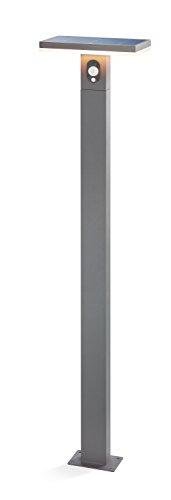 Moderne Solar Sensor Wegeleuchte San Marino Lichtfarbe warmweiß 3000K, 2,8 Watt Solarmodul, 230 lm Lichtstrom, Sommer- und Wintermodus, hochwertige Aluminiumausführung, Standleuchte Garten 102905
