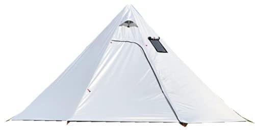 5-6 人用 ワンポールテント 2人用 メッシュインナーテント蚊帳付 煙突テント 高さは約220センチ 軽量 キャンプテント 3.15キログラム 出入口2つ 簡単設営 防水 内料理・焚火可