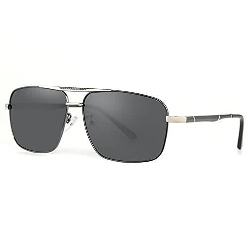 DovSnnx Unisex Polarizadas Gafas De Sol 100% Protección UV400 Sunglasses para Hombre Y Mujer Gafas De Aviador Gafas De Ciclismo Ultraligero Lente Gris con Montura Plateada De Pistola Cuadrada