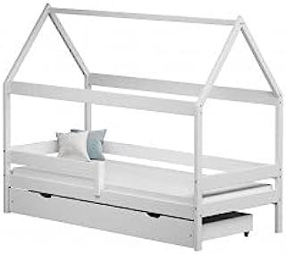 Children's Beds Home - Lit simple en forme de maison - Teddy - Lit simple - Teddy - 200 x 90 cm, blanc, grand lit simple, ...