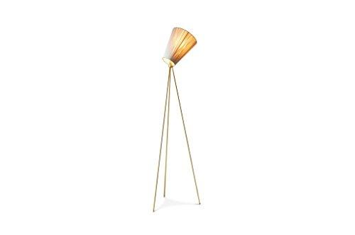 Oslo Wood driepoot vloerlamp - Makkelijk te combineren, Gouden afwerking | Tijdloze elegantie met een optimaal licht - Parelmoergoud (L60 x H165 x P60 cm)