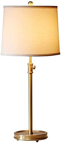 Haojie Lámpara de Mesa de Cobre Vintage LED Dormitorio Lámpara de Noche Retro Sala de Estar Lámpara de Mesa de Oro, retráctil, Lámpara de Mesa para Estudios, E27