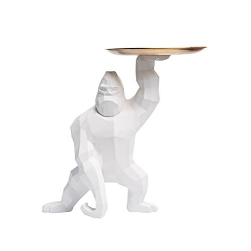 King Kong Gorilla Bandeja De Almacenamiento De Decoración Soporte De Joyería Decoración De Animales Resina Tazón De Llaves Bandeja De Almacenamiento De Baratijas Pequeña Decoración,Blanco