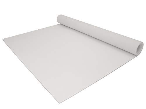 PVC Bodenbelag EXPOTOP Vinyl - Weiß MUSTER Uni CV-Boden Meterware, Reflektiert Nicht, Schwer Entflammbar